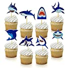 40 PCS Baby Shark Cupcake Toppers Shark Theme Party Supplies Kids Birthday Party Supplies Decorations