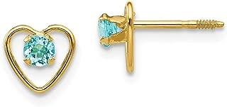 14k Yellow Gold 3mm Blue Zircon Birthstone Heart Earrings Love Fine Jewelry Gifts For Women For Her