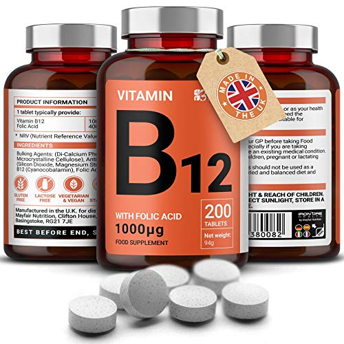 Vitamina B12 con Acido folico | 200 Compresse Premium da 1000mg | Integratore per Vegetariani e Vegani | Senza Glutine e No OMG | Fornitura per 6 Mesi | Prodotto nel Regno Unito da Mayfair Nutrition