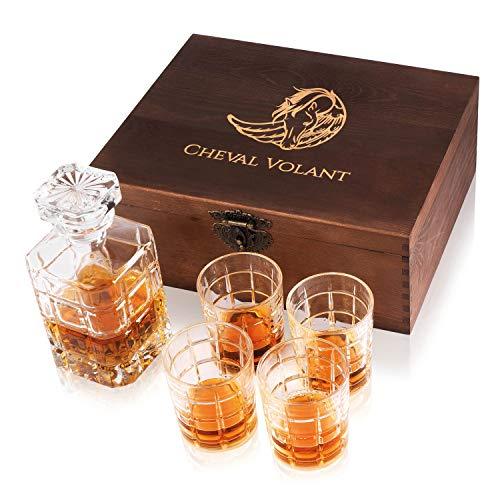 Cheval Volant Whisky Set Geschenk Karaffe - Edle Geschenkbox aus Holz mit einem Gläser Set und Einer hochwertigen Flasche - 5-teilig