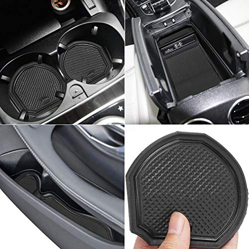 Auovo Anti Dust Mats for Mercedes-Benz C-Class C300 Sedan Coupe 2015-2020 Custom Fit Door Compartment Liners Cup Holder Console Liners Interior Accessories(8pcs/Set) (Black)