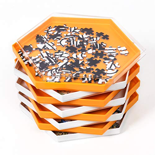 Becko Stackable Puzzle Sorting Trays Jigsaw Puzzle Sorters with Lid Puzzle Accessory for Puzzles Up to 1500 Pieces, 8 Hexagonal Trays in White & Orange