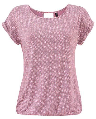 Fleasee Damen T-Shirt Rundhals Kurzarmshirt mit Allover Druck Sommer Bluse Casual Top, Rot, L