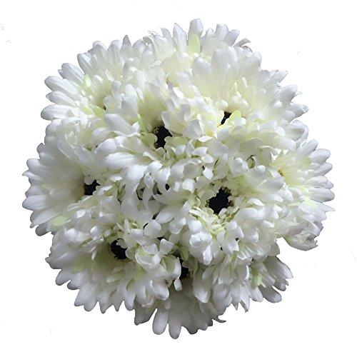 Htmeing 10 pcs Sunbeam Artificial Flower Mum Gerber Daisy Bridal Bouquet Silk Wedding Party Decoration (White)