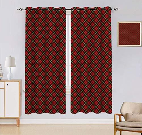 Alandana Geometric Blackout Curtains, Traditional Scottish Plaid Pattern Tartan Tile Checked Striped Retro Print Window Curtain 2 Panels Set, Each Panel 27.5' W x 40' L Red Black Yellow