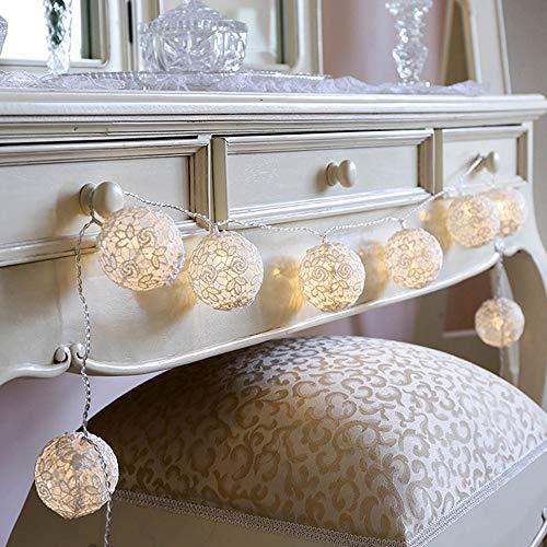 10er LED Lichterkette Spitze Ball, Dapei DIY Kupferdraht Lichterketten 1.5M Länge LED String Licht Batteriebetriebene Warmweiß Lichterketten für Weihnachten Hochzeit Party Zimmer Dekoration