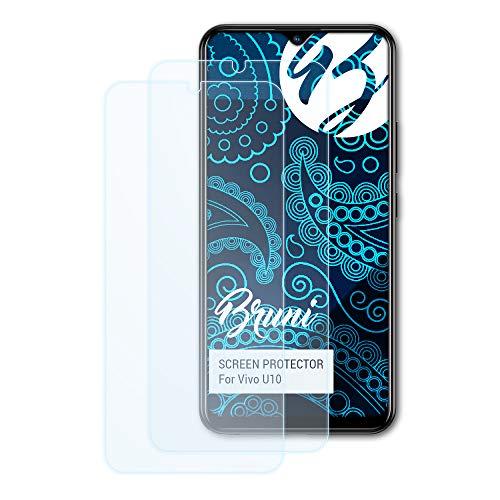 Bruni Schutzfolie kompatibel mit Vivo U10 Folie, glasklare Bildschirmschutzfolie (2X)