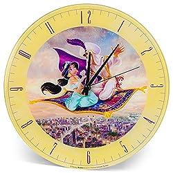 Mark Feldstein & Associates Aladdin and Jasmine Disney Kinkade Pale Yellow 12 inch Glass Round Wall Clock