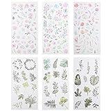 EXCEART 6 Sets Pájaros Y Flores Etiquetas Engomadas Decorativas Acuarela Pájaros Y Flores Pegatinas para Revistas de Planificaciones de Scrapbooking DIY Arts Crafts Calendarios Y Cuaderno