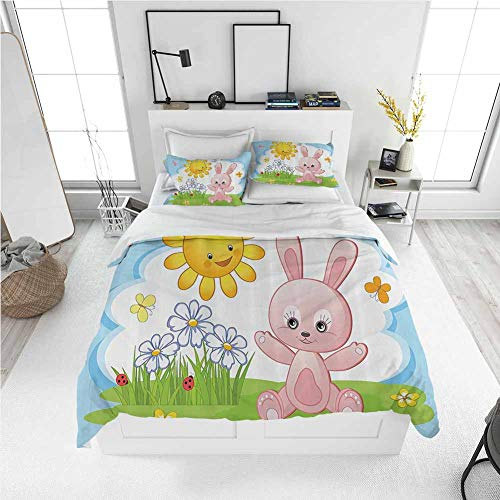 Modern Duvet Cover Kids Decor,Cute Bunny Rabbit in Flower Garden with Happy Sun Lady Bugs and Butterfly Print,Multicolor Best Modern Style Bed Quilt Bed Cover for Men Women (Twin)