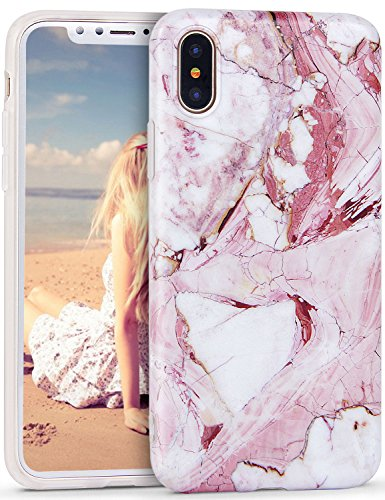 Imikoko® Hülle für iPhone XS/X Marmor Hülle Matt Weich Silikon Handyhülle Stein Marble Schlank TPU Bumper Handytasche Flexible Schutzhülle Soft Back Cover Protective Gummi Dünn(5.8