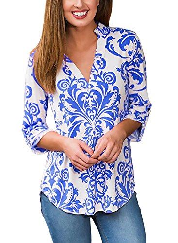 Donna Camicia Elegante V Scollo Roll-Up Manica 3/4 Slim Grazioso Moda Fit con Stampa Etnica Vintage Hippie Fashion Casual Primavera Autunno Blusa Blouses T-Shirt Maglietta Camicie Top Stlie