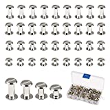 Tornillos Chicago, LANMOK 120 Juegos 5mm Botones Chicago Plateados Surtidos Kit Sujetadores para Atornillar Accesorios de Metal para Manualidades DIY Cinturones de Cuero Encuadernación