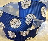 Grosgrain Ribbon Royal Blue Volleyball Print - 7/8'W - 5 Yards - DIY Team Hair Bows!