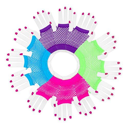 guanti emo Novelty Place [Guanti Neon Guanti da Polso Diva a Rete Senza Dita Colori Neon Assortiti (12 Paia)