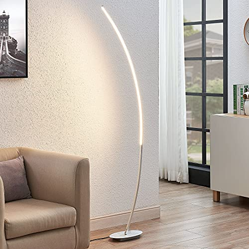 Lindby LED Stehlampe (Bogenleuchte) \'Nalevi\' (Modern) in Alu aus Metall u.a. für Wohnzimmer & Esszimmer (1 flammig, A+, inkl. Leuchtmittel) - Bogenlampe, Stehleuchte, Floor Lamp, Standleuchte