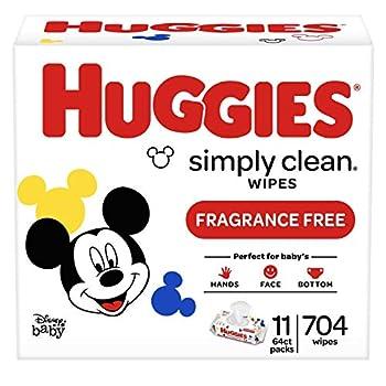 Huggies Simply Clean Unscented Baby Wipes 11 Flip-Top Packs  704 Wipes Total