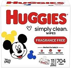 Huggies Simply Clean Unscented Baby Wipes, 11 Flip-Top Packs (704 Wipes Total)