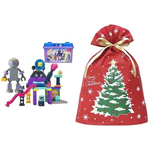 アンパンマン ブロックラボ バイキンじょうもつくれる!だだんだんブロックバケツ (ごっこ遊びも楽しめる!ワールドブロックシリーズ) + インディゴ クリスマス ラッピング袋 グリーティングバッグ3L クリスマスツリー レッド XG983