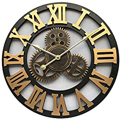 Evursua Vintage Decorative Wall Clock Large 16inch with Industrial Gears Non Ticking Home Decor Clocks,Battery Operated,Metal Effect (Gold)
