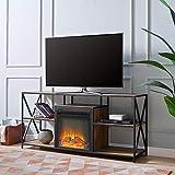 "Walker Edison Furniture 60"" Rustic Industrial Fireplace TV Stand - Barnwood"