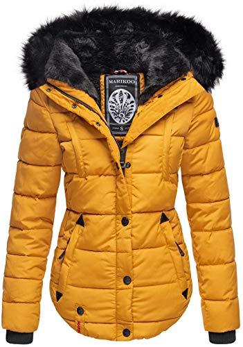 Marikoo warme Damen Winter Jacke Winterjacke Steppjacke gefüttert Kunstfell B618 [B618-Lotus-Gelb-Gr.S]