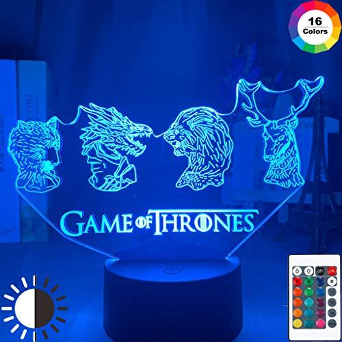 Drama-Serie Spiel TV Drama Thrones Familie Embleme Nachtlicht 3D LED Tischlampe Kinder Geburtstagsgeschenk Nachtzimmer Dekoration