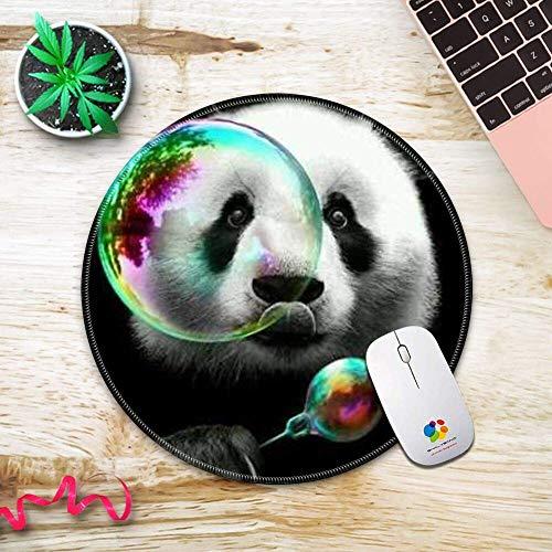 Runde genähte Kanten Mauspad Gummi rutschfeste Mauspad für Studenten Büro Panda Bubble Lovely