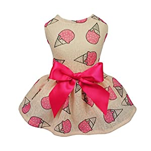 Fitwarm Sweet Ice Cream Pet Clothes for Dog Dresses Vest Shirts Sundress Pink Small