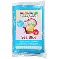 FunCakes Fondant para Cubrir Tartas, Cupcakes, Galletas o Modelar color Azul Mar: Sabor Vainilla, Flexible, Sin Gluten, Halal, Kosher D, Véganos, 250g, FC97450