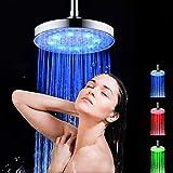 Montloxs Cabezal de Ducha de Lluvia LED Cabezal de Ducha Redondo de 8 Pulgadas Cabezal de Ducha con Sensor de Temperatura Que Cambia de Color RGB para baño