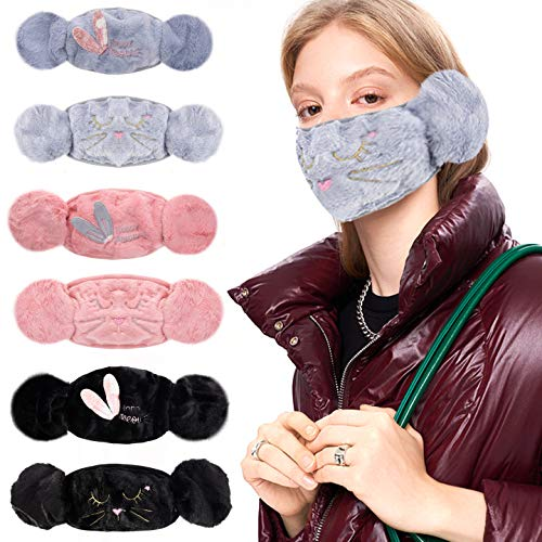 6 Pack Cotton Face Mouth Cover with Earmuffs- Breathable Face Protection with Ear Muffs in 6 Styles Fluffy Half Covered Face Covering with Earflap Winter Warmer Supplies for Boys Girls Teenagers Women