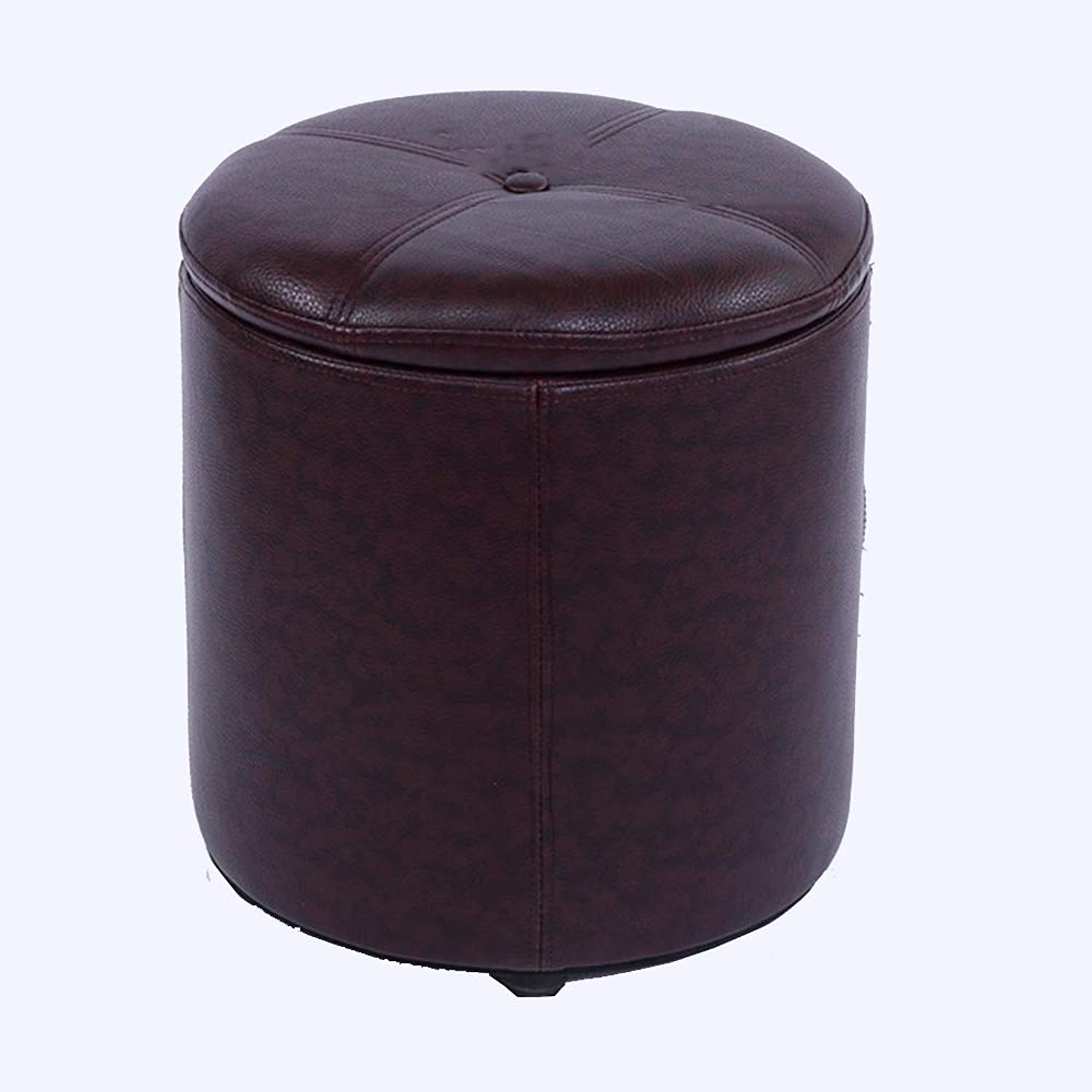 Sofa Stool Change shoes Stool Solid Wood Quality Waterproof PU Linen Creative Multifunctional Makeup Stool (color   Brown)