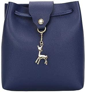 Niome Bucket Bag Women Solid Color Elegant PU Leather Shoulder Bag Deer Toy Pendant Messenger Bag Handbag