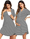 Ekouaer Women's Nursing/Delivery/Labor/Hospital Nightdress Short Sleeve Maternity Nightgown Button Front Sleepwear Black