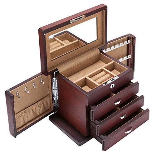 HKX Joyero Caja de Almacenamiento de Joyas de múltiples Capas Caja de colección de Pulseras Maleta de Madera con Espejo (Color: Rojo, Tamaño: 2316.514cm)