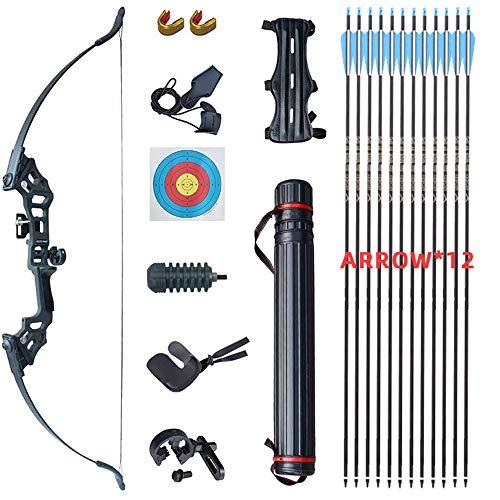 WGLG Recurvebogen Set Erwachsene, Recurve Bogen Und 40 Pfund Metall Split-Bogen Im Freien Bogenausrüstung Mit Carbon Pfeile Set Arrow
