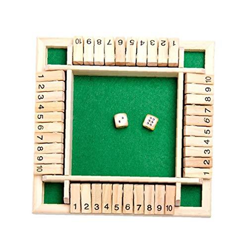 1 Juego de 4 vías cerró la Caja de Juego de Dados de Madera 4 Números Caras Grandes de Madera Juego de Mesa Juguete Inteligente del Juego para el Aprendizaje, Estrategia y gestión