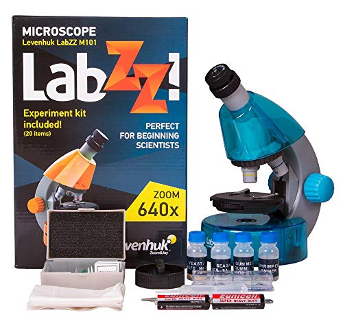 Levenhuk LabZZ M101 Azure Microscope for Kids with Experiment Kit – Choose Your Favorite Color