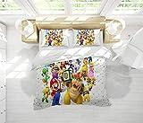 Super Mario Bros Juego de sábanas de microfibra tamaño king 3 piezas (1 funda de edredón y 2 fundas de almohada)