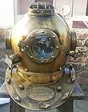 Nautical Replica Hub Casco de buceo de estilo antiguo, diseño coleccionable, acabado de latón, casco azul marino