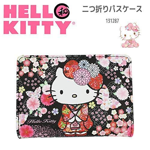 Sanrio Hello Kitty - Tarjetero, diseño de kimono japonés y mariposa, color negro