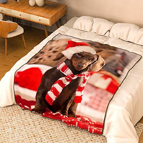 VEELU Fotodecke mit Eigenem Foto Name Super Weich - Decke Selbst Gestalten Bedrucken Lassen Kuscheldecke Personalisierte Geschenk für Freunde Familie Geburtstag Weihnachten 76 x 102cm