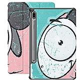 Funda Galaxy Tablet S7 Plus de 12,4 Pulgadas 2020 con Soporte para bolígrafo S, Tarjeta de Grunge con Animales, Divertidos Dibujos Animados de ovejas, Funda Protectora Delgada con Soporte para Samsun