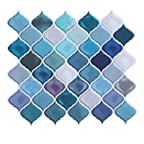 HUE DECORATION Modern Peel and Stick Tile Backsplash for Kitchen, Decorative Self Adhesive Backsplash Tiles, Stick on Backsplash Tiles for Kitchen, Smart Arabesque Tile 10'x11' Pack of 2 - Sample