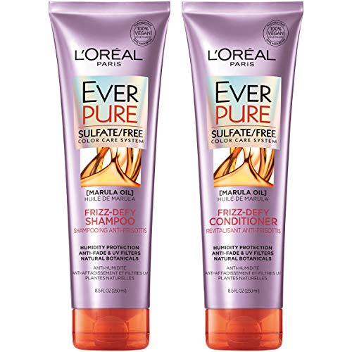 L'Oreal Paris Hair Care EverPure Frizz Defy Sulfate Free Shampoo and Conditioner Kit for Color-Treated Hair, Humidity + Frizz Control, For Frizzy Hair (8.5 Fl; Oz each) (Packaging May Vary)