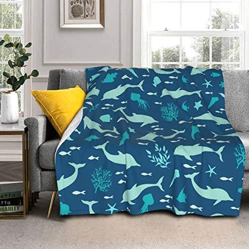 DPQZ Sherpa Coperte in pile 150 'X 50' Sea Marina Silhuette Delphins Seashells Reversibile Super Morbido Accogliente Coperta di peluche per letto/divano
