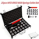 HYYKJ 21pcs ER32 Spring Collet Set Spring Steel Chuck Tool MT2 Shank Wrench Spanner with B...