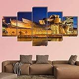 JJJKK Cuadros Lienzo salón 5 Partes Modernos Cuadros impresión 5 Piezas XXL el Museo Guggenheim Bilbao en españa impresión Lienzo Fotografía Imagen Decoración Hogar Listo Colgar