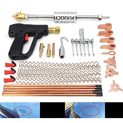 86pcs Kit de soldador de pernos para quitar abolladuras, dispositivo de reparación automática de puntos, herramienta para soldar pernos, martillo, pistola, soldador por puntos, garra para quitar
